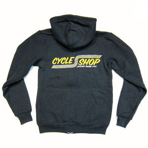 Lawrence Cycle Shop Stripes Logo Full-Zip Hoodie,charcoal