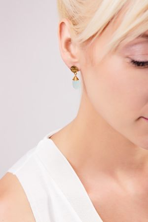 【azunilondon】Athena small stone drop earrings