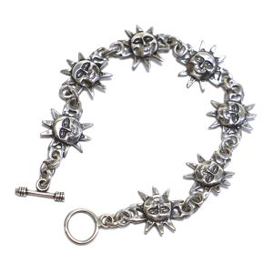 Vintage Sterling Silver Mexican Sunface Chain Link Toggle Bracelet