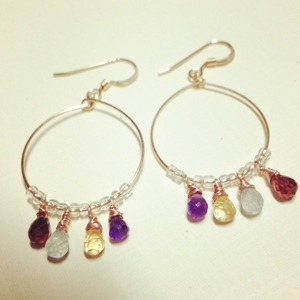 14k gf colorful gems ピアス