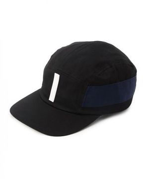 SILCON TAG 5PANEL CAP (BLACK×WHITE)