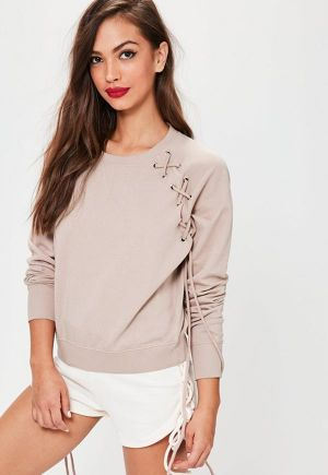 MISSGUIDED Pink Lace Up Eyelet Detail Raglan Sweatshirt 10SE012-17