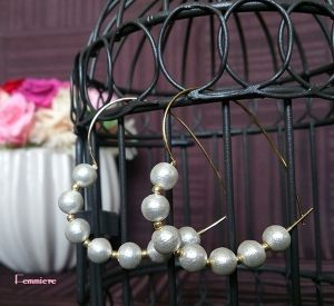 gold heart hoop &cotton pearl