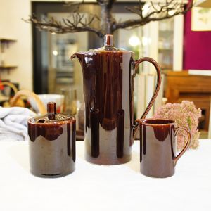 "60's Vintage made in HOLLAND ""Sphinx Maastricht"" Brown Pot, Sugar Pot and Milk Pot Set   [CCV-33]1"