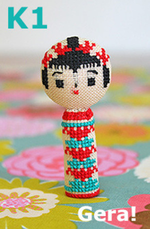 Kit-No.1 Kokeshi x cross stitch 1