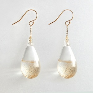 tear drop glass pierced earring : ss-02