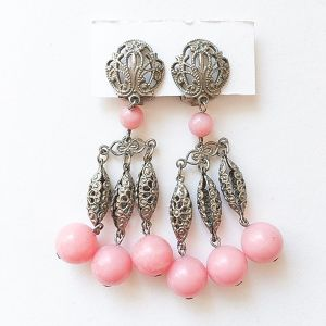 silver & pink beads earring[e-578]