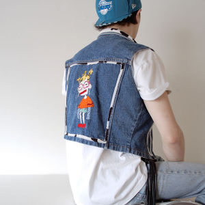 Lactose Intoler-art(ラクトス) 1off customized denim waist coat