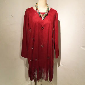 Suede Fringe One-piece / Red