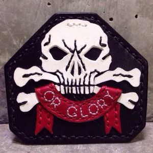 """Leather Brooch """"Death Or Glory"""""""