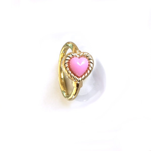K18YG body jewelry #0003 VINTAGE HEART RING Pink