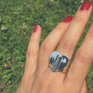HEART BUCKLE RING #1704-sv