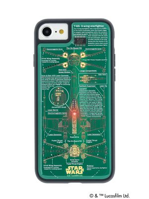 FLASH X-WING 基板アート iPhone7 ケース 緑 【東京回路線図ピンズをプレゼント】