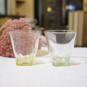 60's Vintage made in FRANCE Clear Yellow and Green Shot Glass   [GV-23]