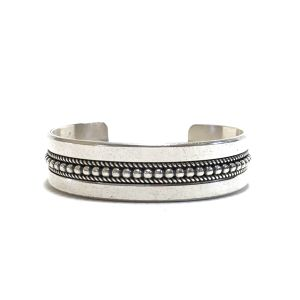 Navajo Vintage Sterling Silver Twisted Wire Bangle by Ron Yazzie