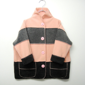 marsh fe' border fleece Pink☓Gray KFJ0003