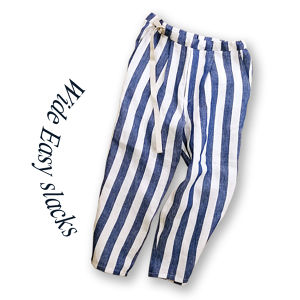 Wide Easy slacks [Blue stripe]