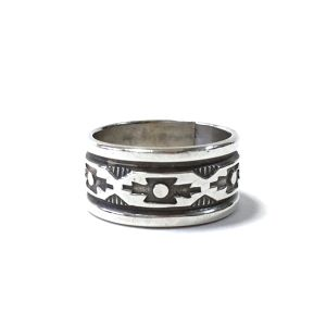 Navajo Vintage Sterling Silver Aztec Style Ring by Troy Laner