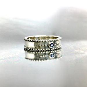 STUD RING [S] with SAPPHIRE / スタッドリングS・サファイア