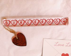 """Love♡Letter""""GIRLSROOM roomkey""""pink/red"""