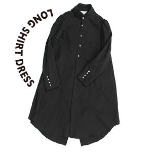 Long shirt dress [Black]