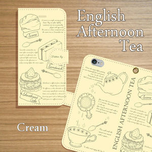 English Afternoon Tea クリーム 手帳型スマホケース iPhone/Android