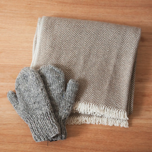 Mother's Hand Made Mittens - Grey-