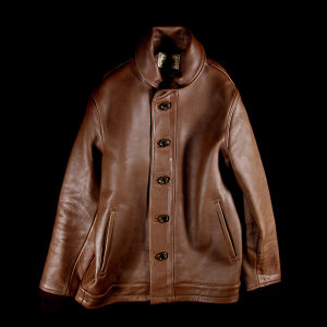 DAMAGE LEATHER SHAWL COLLAR JACKET BROWN