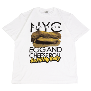"""Egg & Cheese Roll"" Tee white"