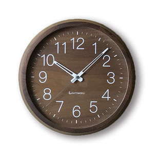 KATOMOKU muku round wall clock 2 Walnut Ver.  km-46RC 電波時計