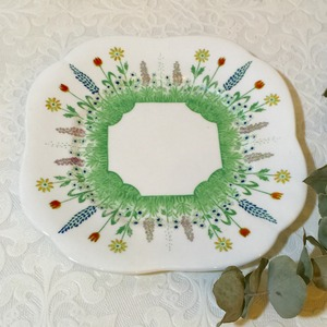 "20-40's Vintage Cake Plate ""FENTON , E HUGHES & Co"" from LONDON [CPV-3]"
