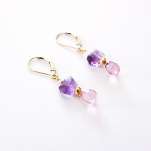 PIECES Earrings|Amethyst, Pink Topaz