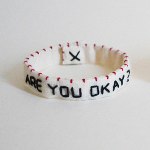 "刺繍ブレスレット""Are you okay?/I will be fine."""