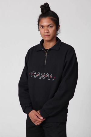 CANAL QUARTER ZIP FLEECE BLACK サイズM