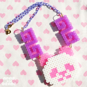 【Apps and Beads】ちゃいなぱんだネックレス(ピンク×ぱーぷる)