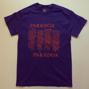 P Flag T-shirts (Navy) Orange Print
