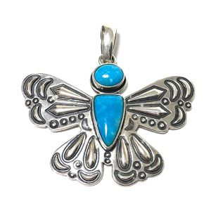 Navajo Vintage Sterling Silver & Kingman Turquoise Butterfly Pendant by Cody Sanderson