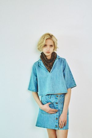 VINTAGE SHORT DENIM SHIRT