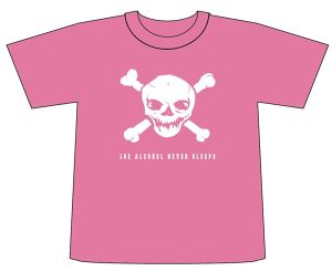ご予約商品 特典バッチ付きJOE ALCOHOL NEVER SLEEPS T-shirts col.pink