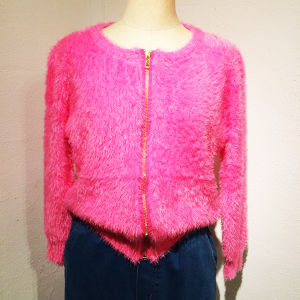 Mohair Zip Up Cardigan / Pink
