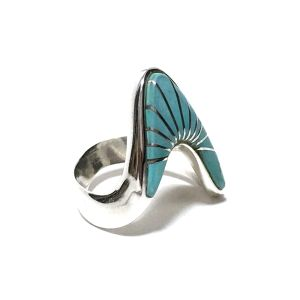 Navajo Sterling Silver & Sleeping Beauty Turquoise Inlay Ring by Calvin Begay