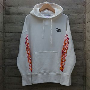 BORN TO LOSE down sholder big silhouette hoodie col.wht