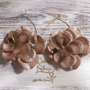 Girly Flowers  Pierce -BrownBeige-