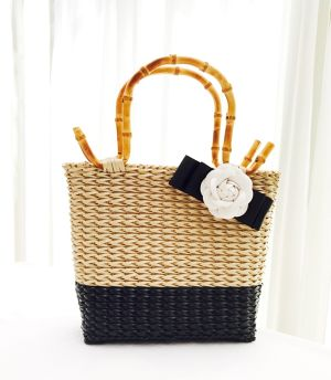 bamboo handle mèche bi-color bag
