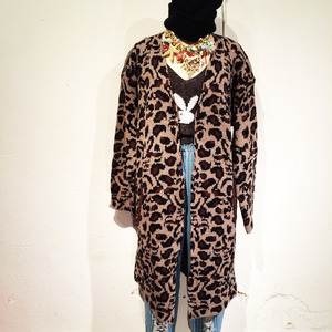 Leopard Long Knit Cardigan / Brown