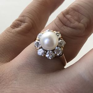 Pearl & Diamond Victorian Cluster Ring