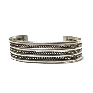 Navajo Sterling Silver Twisted Wire Bangle by Tahe