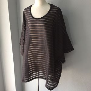 DIMANCHE/BIG SHEER STRIPE TOP【FRANCOISE】