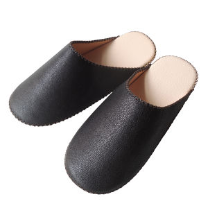 【Small】TOKYO Lether simple slippers [Black] Chrome-free