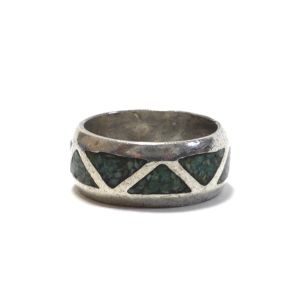 Navajo Vintage Sterling Silver Turquoise Chip Inlay Ring
